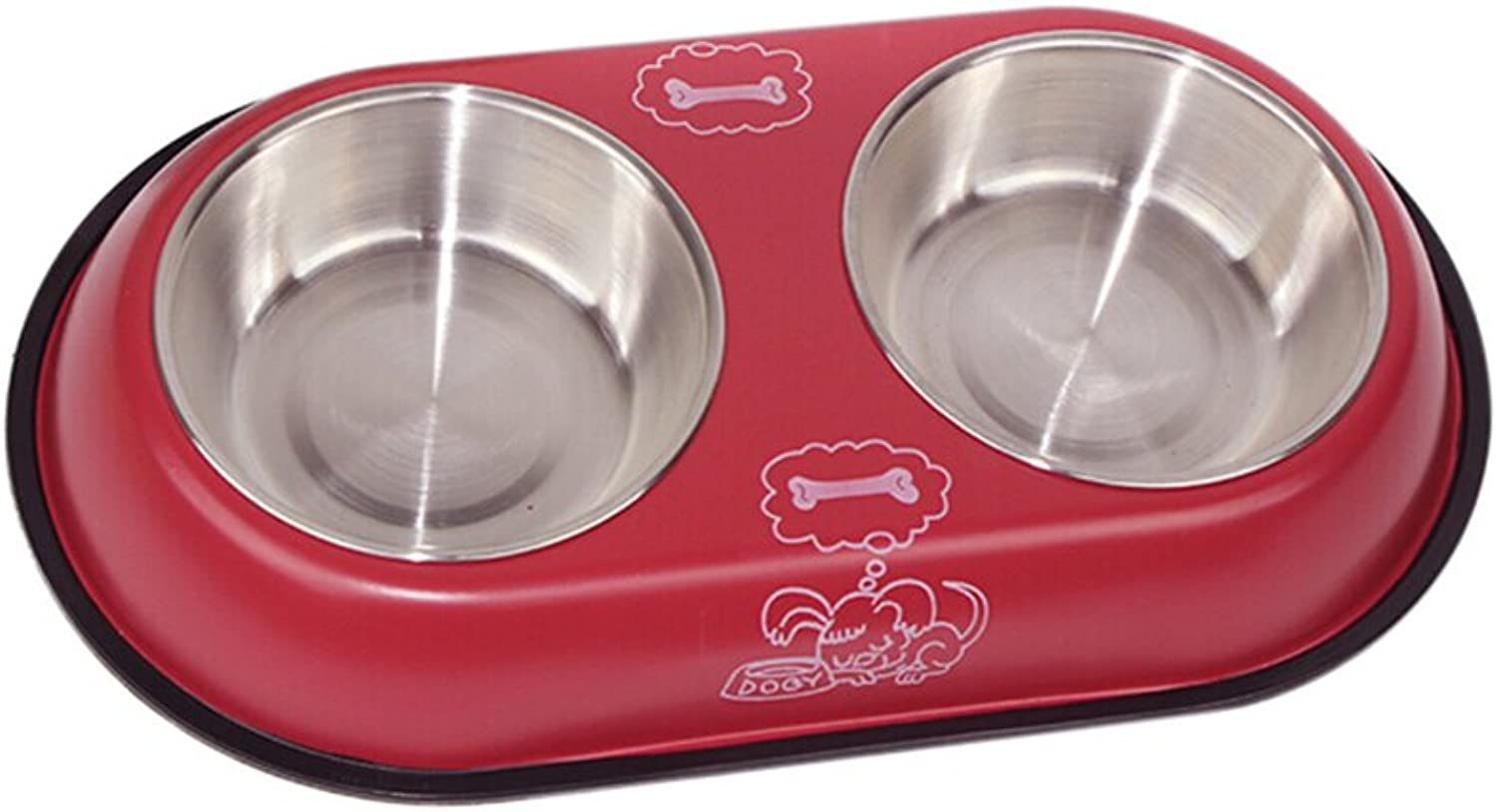 FXNN Pet BowlStainless Steel NonSlip Collar DoubleLayer Dog Pot cat Bowl (color   Red, Size   34.5  19  4.5cm)