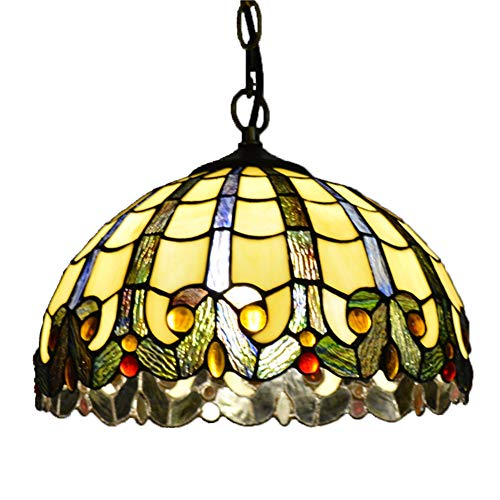 GYLTFL Tiffany Hanging Lamps with Chain, 12 inch Stained Glass Victorian Style Ceiling Pendant Fixture for Dinner Room Living Room Bedroom TPL-74
