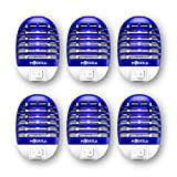 Electronic Fly Zapper, Bug Zapper Indoor, Fruit Fly Trap, Fruit Fly Killer with Blue Light, Safe - Non-Toxic - Silent - Effective Operation UV Insect Killer (6 Packs)