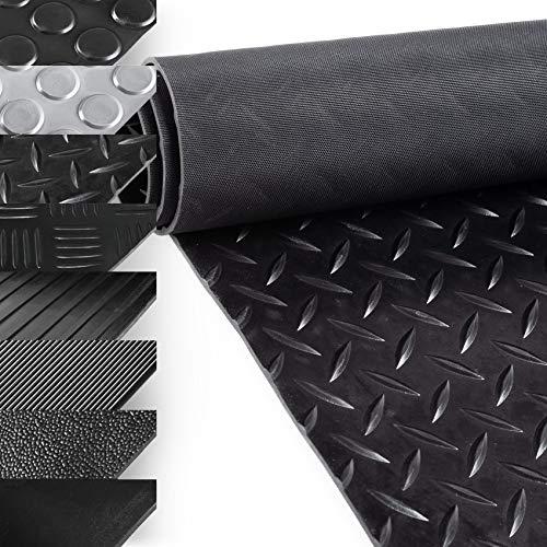 ANRO Gummimatte Schutzmatte Meterware Bodenmatte Tränenblech Riffelblechoptik Gummiläufer 100cm Breit 3mm stark Schwarz 400 x 100cm
