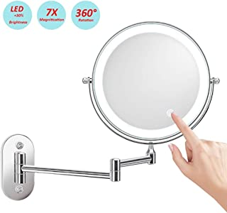 Makeup Mirror, Shaving Mirror Wall Mounted Bathroom Mirrors Makeup Vanity Magnifying Round LED Touch Dimming Mirror 7X 8 Inch Two Sided, 360° Rotatable, Extendable Arm