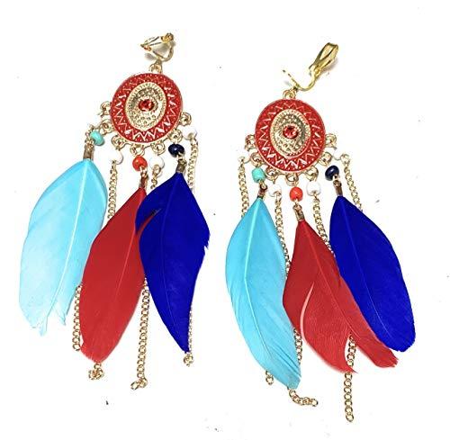 Pendientes de araña de plumas de color rojo, azul turquesa y multicolor