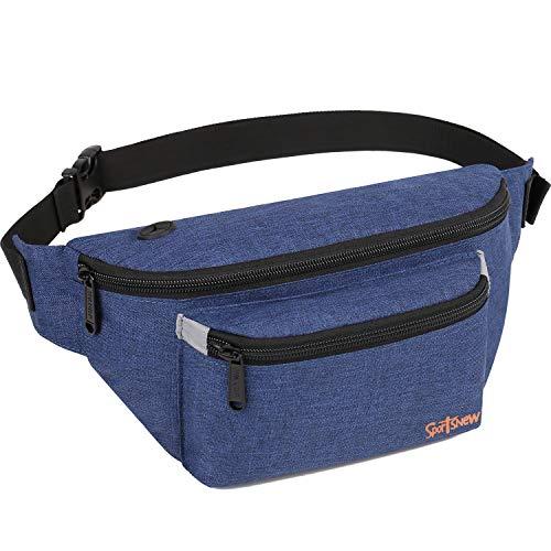 Fanny Packs for Men Women - Waist Bag Packs - Large Capacity Belt Bag for Travel Sports Running Hiking Large, Dark Blue