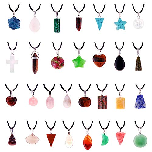 Mix Random 60pcs Natural Stone Pendants Charms Heart Jade Turquoise Quartz Chakra Stone Beads Necklace Jewelry Findings Gemstone with Leather Cord