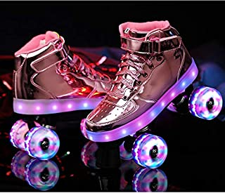 LLFA Roller Skates for Women Double Row Pulley Shoes Men and Women 4 Wheels? Children Adult Luminous Roller Skates