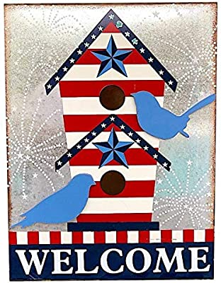 """Americana Welcome Tin Sign Metal Block Red Blue & White Wall Counter Patriotic Decor (16"""" x12"""")"""