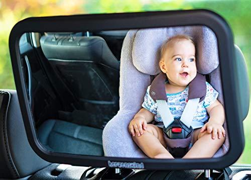 HerzensKind Rücksitzspiegel für Babys, extra großer Babyspiegel (30cmx19cm) mit edlem Soft-Touch Finish, bruchsicher und kinderleicht zu montieren