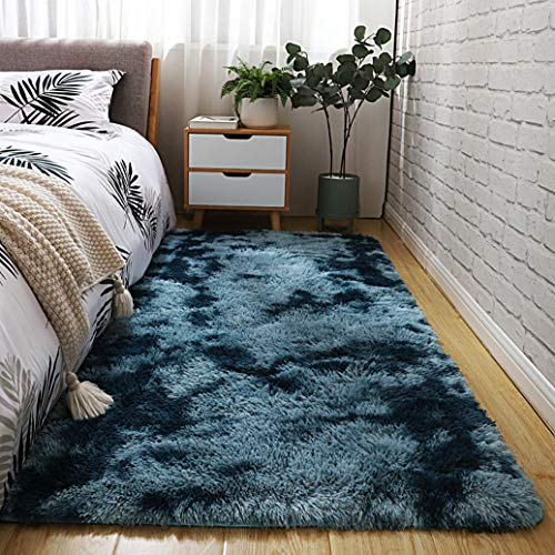 FANGJIE Teppich Wohnzimmer 120x180cm Shaggy Wollteppich Faux rutschfeste Unterseite für Wohnzimmer, Kinderzimmer oder Flur Läufer, Dunkelblau