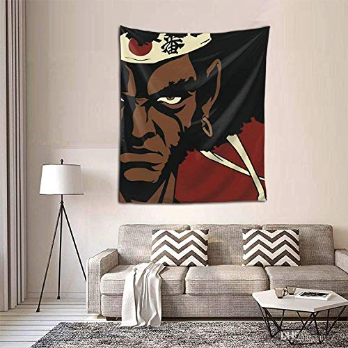 WONGHI Afro Samurai Tapestry Wall Hanging with Art Nature Home Decorations for Room Bedroom Living