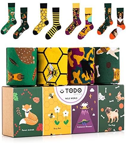 TODO Colours Lustige Socken mit Motiv - Mehrfarbige, Bunte, Verrückte für die Lebensfreude (4 Paar Geschenkbox Nr1 - Wild World, numeric_35)