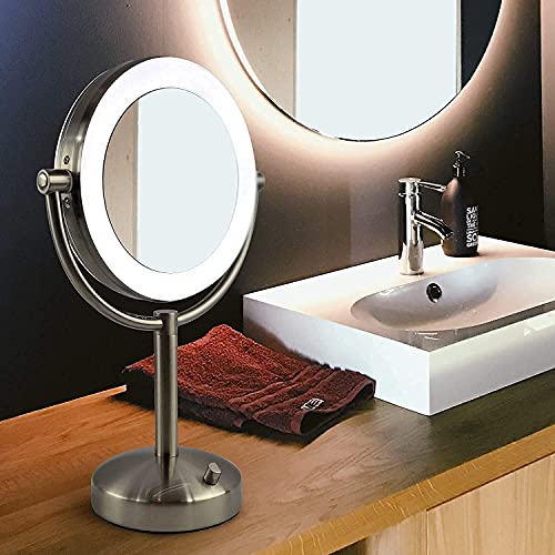 Tabletop LED Light Makeup Mirror, AC Adaptor, 10x/1x Magnification, Chrome Finish by Brookstone