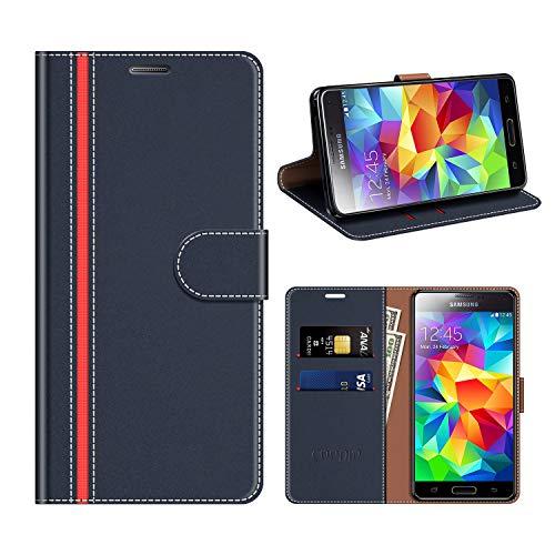COODIO Funda Cuero Samsung Galaxy S5, Funda Samsung S5 Neo, Funda Cover Rugged Galaxy S5 Case con Magnético/Cartera/Soporte para Samsung Galaxy S5 / S5 Neo, Azul Oscuro/Rojo