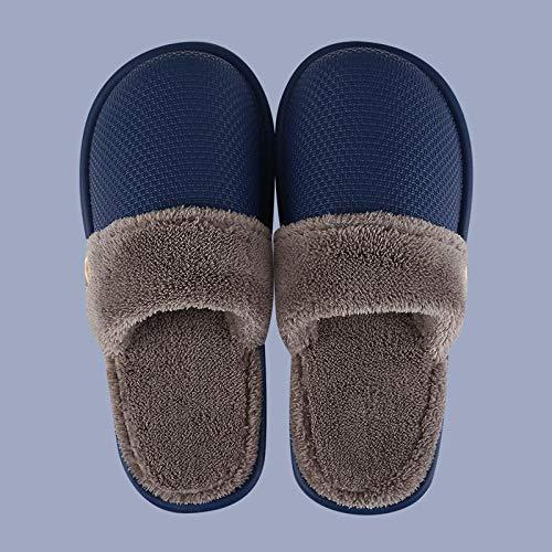 B/H Calzado Interior Antideslizante de Felpa al Aire,Zapatillas de Felpa cálidas de Invierno, Zapatillas de algodón de Interior Antideslizantes de Ocio-Blue_44-45