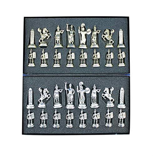 NBVCX Inicio Accesorios HIUHIU (Solo Piezas de ajedrez) Piezas de ajedrez históricas de Metal con números Romanos medianos sobredimensionados 7 cm (no Incluye Tablero de Madera)