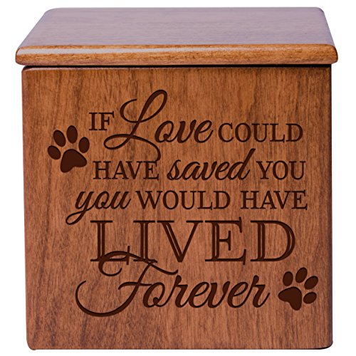 Cremation Urns for Pets Small Memorial Keepsake Box for Dogs and Cats, Urn for pet Ashes If Love Could Have Saved You You Would Have Lived Forever Holds Small Portion of Ashes (Cherry)