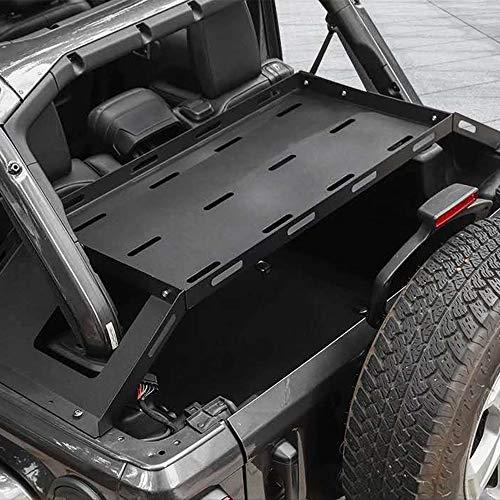 Interior Rear Cargo Basket, Multi-Purpose Rear Door Tailgate Table, Rear Storage Rack Tailgate Table Storage Cargo Luggage Holder Rack Shelf Black for J-eep Wrangler JK 2/4Doors【Aluminum】