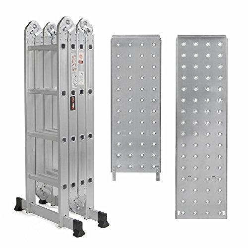 Multi Purpose Aluminum Folding Scaffold Step Ladder 15.5ft Tools En131 330lbs
