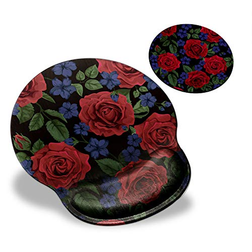 Mouse Pad with Wrist Support, Red Rose Flowers Pattern Design Ergonomic Mouse Pads and Coasters, Gaming Mousepad for Laptop Computer Home Office Working & Pain Relief
