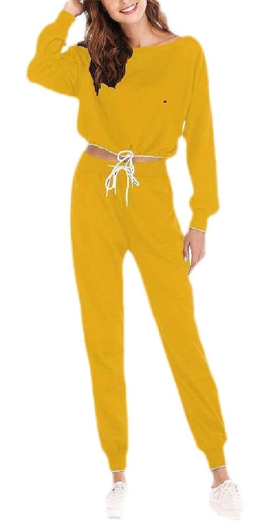触覚朝飛躍Women's Crop Top Seatshirt Pant 2 Pcs Sweatsuit Set Sports Outfit Tracksuit