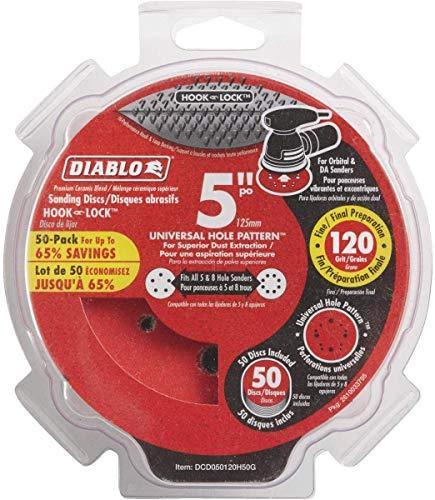 Diablo DCD050080H50G 5 in. 80-Grit Universal Hole Random Orbital Sanding Disc (50-Pack)