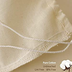 """Cotton Cheesecloth Bag for Straining Almond Milk, Yogurt, Juice - 2 Pack Small 10""""x 8"""" Juyomox Nut Milk Bag - Reusable Fine Mesh Cheese Cloth Strainer with Easy open Drawstring 