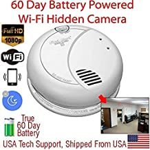 SecureGuard SMK-60D-B - HD 1080P / 90 Day Battery Powered WiFi Smoke Detector Spy Camera (WiFi - SD - 90 Day Battery - Made in The USA)
