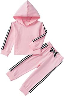 Fairy-Baby Toddler Girls 2-pc Autumn Sports Set Long Sleeve Hoodie Top and Matching Cotton Pants Kids Casual Playwear