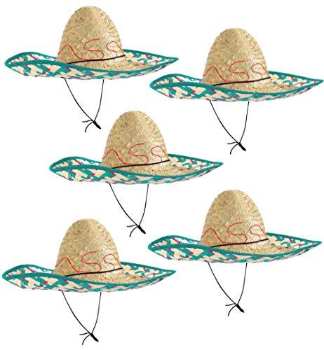 Sombrero-Set Mexikanerhüte in bunten Farben - 5er Pack