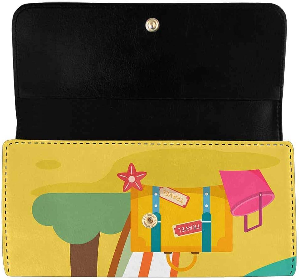 INTERESTPRINT Women's Trifold Clutch Purses Fun Holiday Beach Pattern PU Leather Card Holder