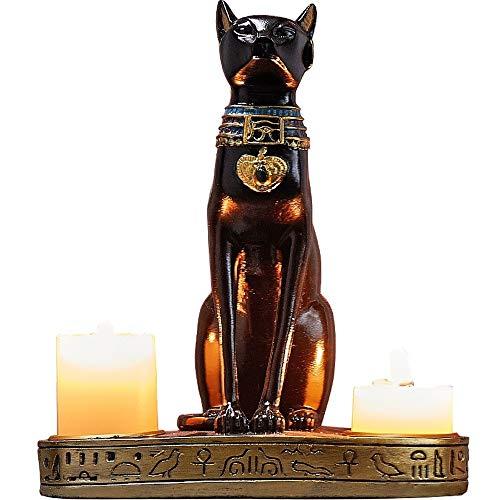 egyptian decor,egyptian Statue Black Cat Candle Holder,bastet Cat Statue Egyptian Wall Art,goddess Statue Egyptian Altar Candle Holders Wiccan Candle Holder Animal Figurines,black Cat Figurine