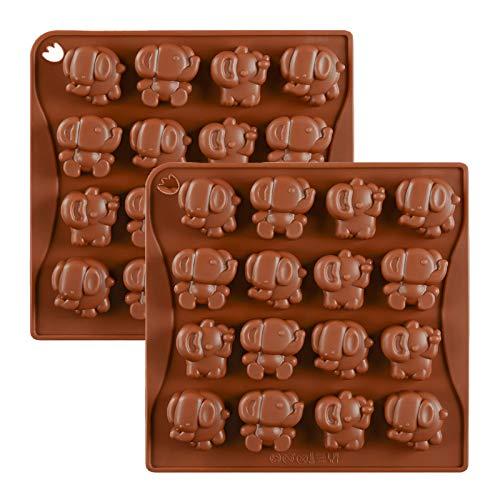 JasCherry 2 Stück Elefant Form Silikon Backform Kuchenform Silikonform Schokoladenform Pralinenform Backen Kuchenbackform für Schokolade, Süßigkeiten, Praline, Gelee, Eiswürfel und Seife #3