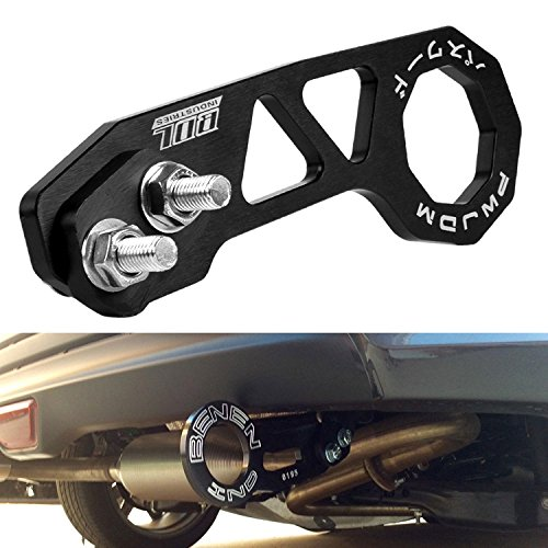 EIOU Rear Tow Towing Hook for Universal Car Auto Trailer Ring Aluminum Racing Trailer Hook Black