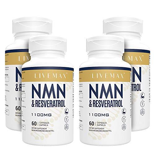 Maximale Absorption Trans-Resveratrol 600mg + NMN 500mg | 240 Vegane Kapseln | Hohe Antioxidantien | Vegan | Glutenfrei | Non GMO (4PACK)
