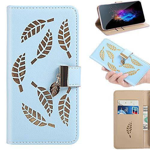 Huphant Compatible for Schutzhülle Sony Xperia XA1 Hülle,Brieftasche Klapphülle Durchbrochene Goldene Blätter Kartenfächer Ständer Wallet Case for Sony Xperia XA1 / Xperia Z6 Handyhülle -Blau