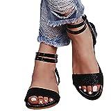 YESMAN Sandalias de verano con lentejuelas de cristal, estilo romano, sandalias para mujer, sandalias planas de 2021, cómodas sandalias de plataforma, para interiores y exteriores