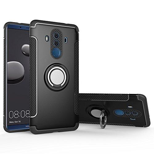 BLUGUL Huawei Mate 10 Pro Hülle, 360 Grad Drehender Ring-Griff, Kompatibel mit Magnet Auto Halterung, Schutzhülle Handyhülle Case Cover für Huawei Mate 10 Pro Schwarz