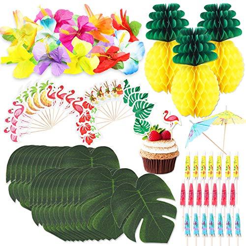 WATINC 100 Tropical Hawaiian Luau Party Dekoration mit Palm Blätter, Seide Hibiscus, Kuchendeckel Topper, 3D Fruchtstrohhalme, Seidenpapier Ananas Cocktail Schirmchen für Geburtstagdeko Strand BBQ