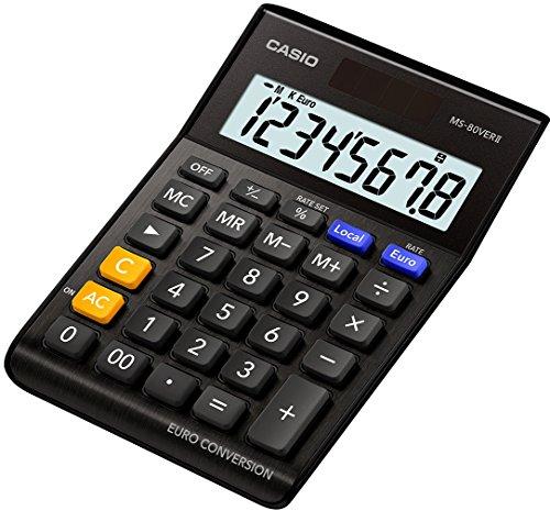 CASIO Tischrechner MS-80VERII-BK, 8-stellig, Währungsumrechnung, Aluminiumfront, Schnellkorrekturtaste, Solar-/Batteriebetrieb