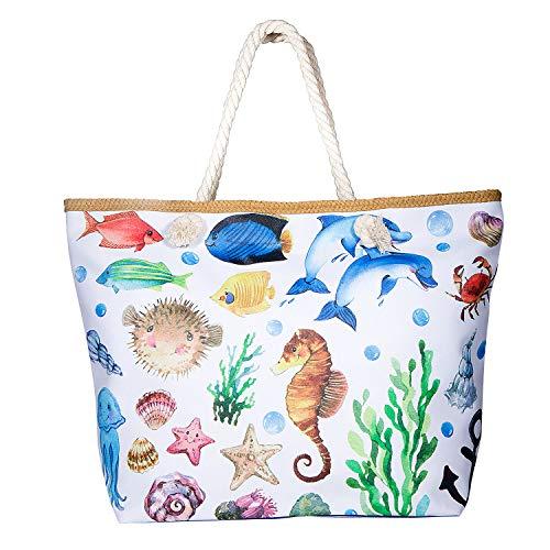 Comius Bandolera Verano Mujer 2019, PU Bolsa de Playa Grande con Cremallera, Bolso de Mujer Shopper Bolsa Totalizadores del Recorrido (55 x 39 x 11cm) (Dolphin)