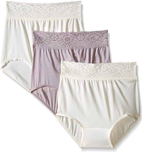 Bali Women's Lacy Skamp Brief Panty, Mocha/Mocha, Large/7 (Pack of 3)