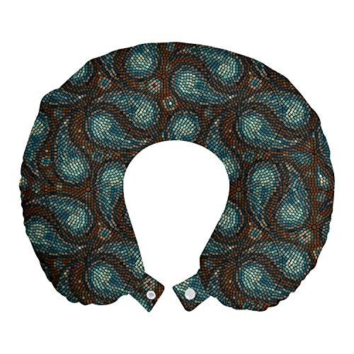 ABAKUHAUS Cachemir Cojín de Viaje para Soporte de Cuello, Formas Modernas de la lágrima, de Espuma con Memoria y Funda Estampada, 30x30 cm, Brown Azul y Azul Oscuro