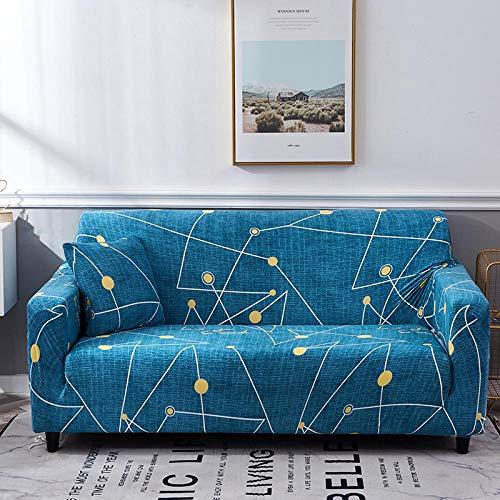 AKTYGB Funda para Sofá Elasticas de 4Plazas- 3D Lmpresión Fundas Decorativas para Sofás(Gratis 2 Funda de Cojines) Universal Muebles Fundas Decorativas para Sofás - Constelación Azul Cielo