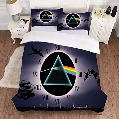 Sallypan 3D Pink Floyd Cubierta del Duvet, 2020 Microfibra Suave Triángulo del Arco Iris del lecho con 2 Fundas de Almohada,6,200x230cm 3pcs