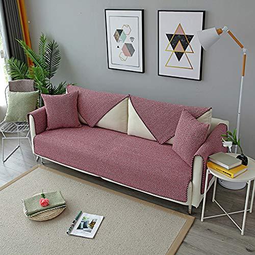 SOOMILE, copridivano in cotone stile europeo per divani, decorazione sezionale per divani e divani, protezione antiscivolo, Rosso, 44'X72'