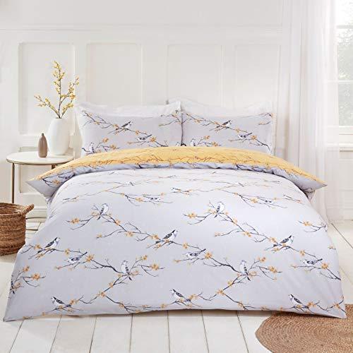 Dreamscene Blossom Bird Wende-Bettwäsche-Set, Bettbezug mit Kissenbezügen, Superkingsize-Bett Grau-ockergelber Vogel-Aufdruck