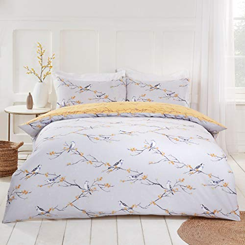 Dreamscene Blossom Bird Reversible Floral Quilt Duvet Cover with Pillowcase Bedding Set, Grey Ochre Yellow - Single