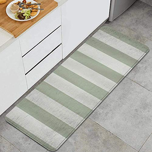 Sage Green Stripes Anti Fatigue Kitchen Mat Comfort Floor Mats Non-Slip Oil Stain Resistant Easy to Clean Kitchen Rug