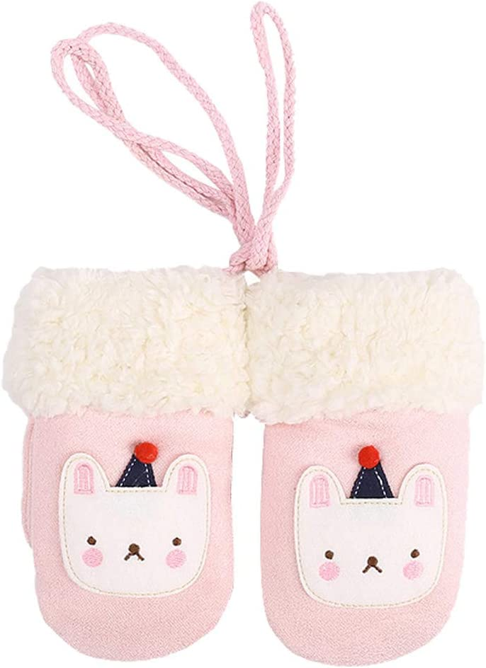 LUOZZY Baby Gloves Winter Children Warm Finger Fluffy Gloves Hand Gloves (Pink)