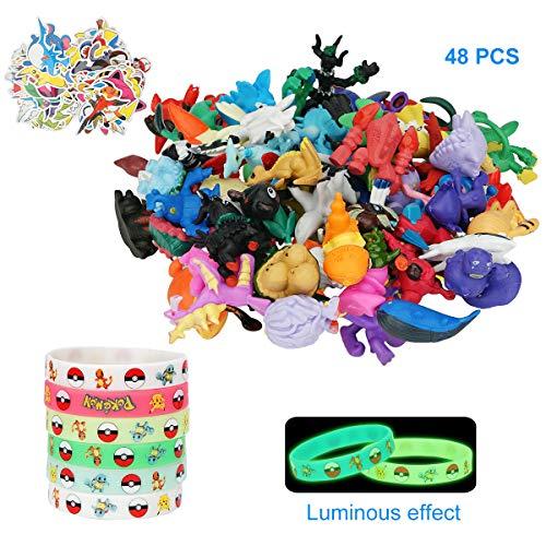 Herefun Pokemon Figuren, Pearl Minifiguren (48 Stück) + Pokémon Leuchtendes Silikon Armband (18 Stück) + 1 Pokemon Sticker Pack, Pokemon Spielzeug Set Parteien für Erwachsene und Kinder