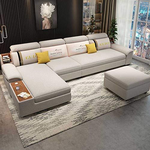 RSTJ-Sjcw 3 in 1 kompakten Sofakouch Ecksofa Bett mit Storage & Feuchtigkeitssitz Modern zusätzlicher Komfort Stoff Couch Schlafsofa für Wohnzimmer oder Schlafzimmer,3.25m